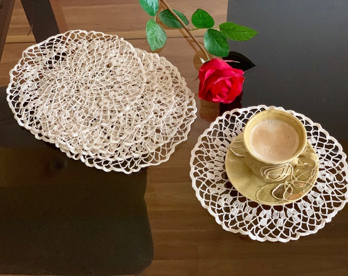 Doily Coasters Set of 2, 4, 6 Doilies Hand Crochet Round Placemat Table Centerpiece Ivory Handmade Cotton Coffee Mat, Mug Rug, Table Topper