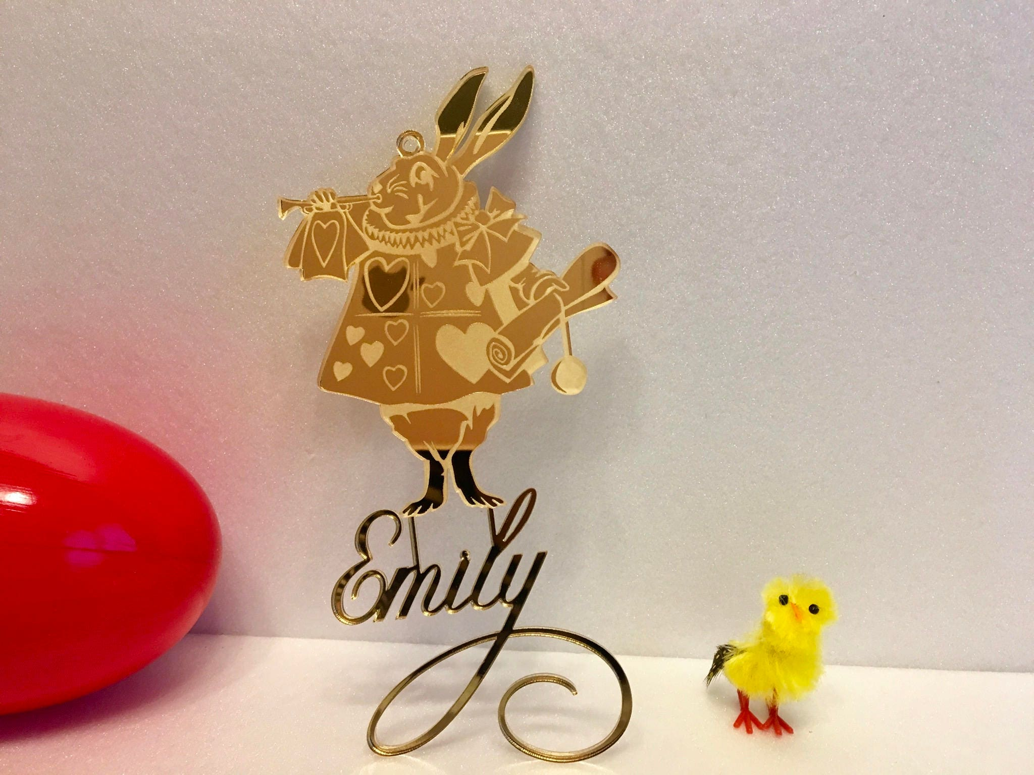 Alice In Wonderland Personalized White Rabbit Ornament