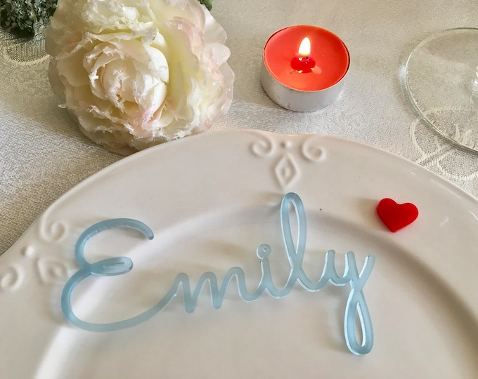 Personalized Frosted Blue Tags Acrylic Place Cards Laser cut names for weddings Guest names Place settings Custom table sign Baby boy shower