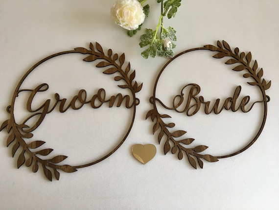 Bride and Groom Chair Signs for Weddings Laurel Wreath Large Calligraphy Sign Boho Wedding Custom Personalized Wood Hanging Sign Rustic Sign