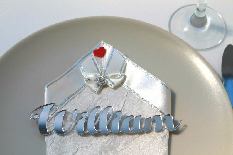 Silver mirror Place cards Personalized wedding Laser cut names image 0