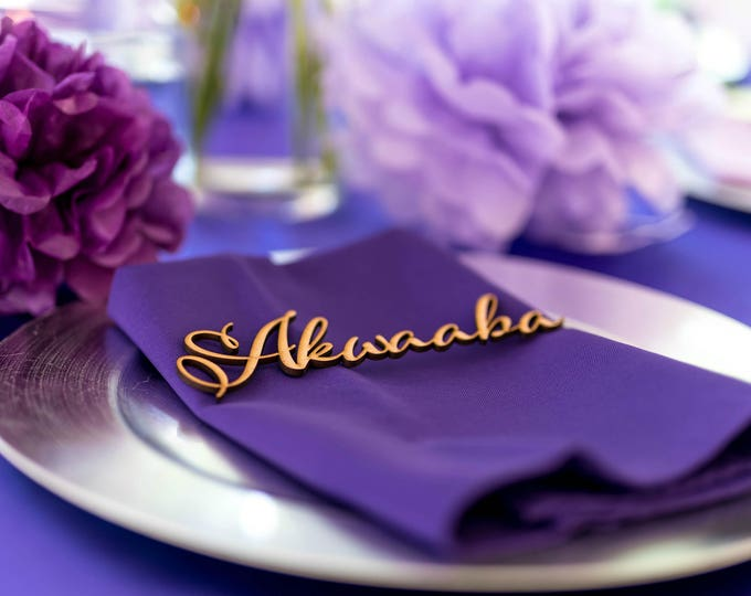 Personalized wedding names Table cards Acrylic escort cards Custom stationery Wooden laser cut names Place name settings Guest party names