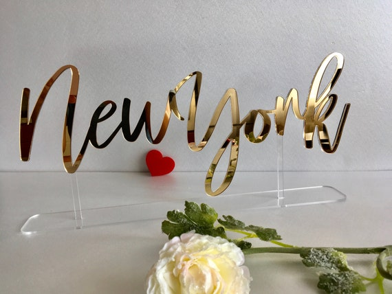 Table Citys Signs Tabletop Cities Sign Base Personalized Custom Name Calligraphy Laser Cut Acrylic Freestanding Reception Decor Event Party