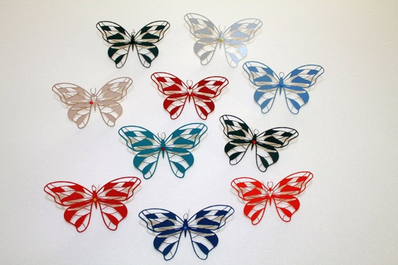 Paper butterflies Die Cuts 10 pc Butterfly Wine Glass 3D Butterfly confetti Butterfly decor Baby shower party Wedding Decorations Wall decor