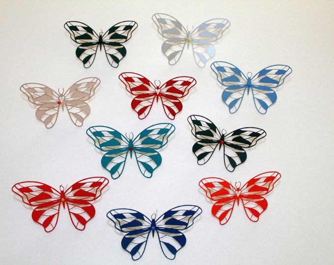 100 pc Paper Butterflies Die Cuts Butterfly Wine Glass 3D Butterfly Confetti Butterfly Decorations Baby Shower Party Wedding Birthday Decor