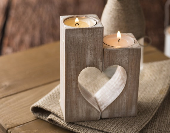 Wood candle holders Valentines day Gift for her Rustic holder Wooden hearts Decorative tealight candles Wedding gift idea Home decorations