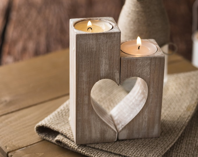 Wood candle holders Christmas gift Valentines day decor Rustic Wooden heart Decorative tealight candles Wedding gift idea Home decorations
