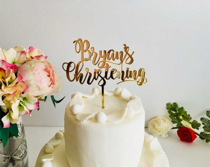 Personalized Christening Cake Topper Party Decor Acrylic Cake Decoration Any Name First Communion Custom Baptism Cake Topper God Bless Wood