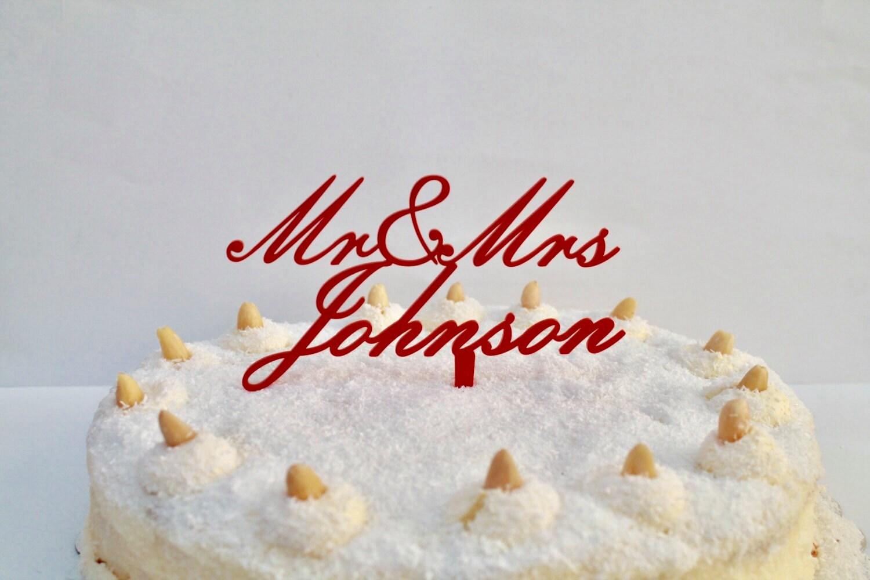 Mr Mrs Personalized Name Wedding Cake Topper Custom Family