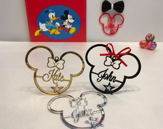 Personalized Mickey Mouse Head Ornament Minnie Mouse 1st Birthday Gift Clubhouse Birthday Disney Decor Party Favours Custom Name Ornaments