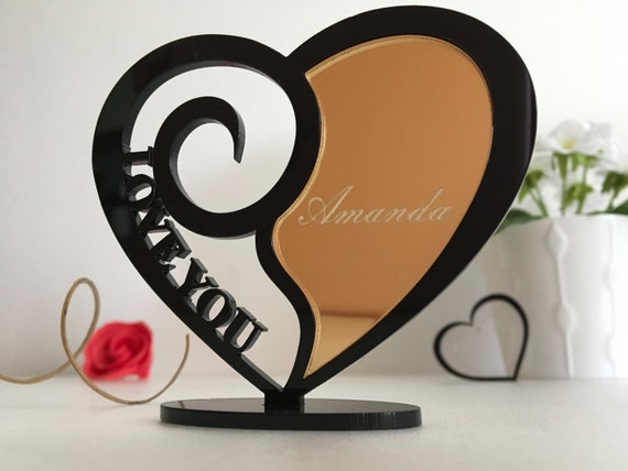 Personalised heart Gift for Her Black and gold custom name ornament I love you Acrylic Shape Laser Cut Charms Engraved Heart Gift for Mom