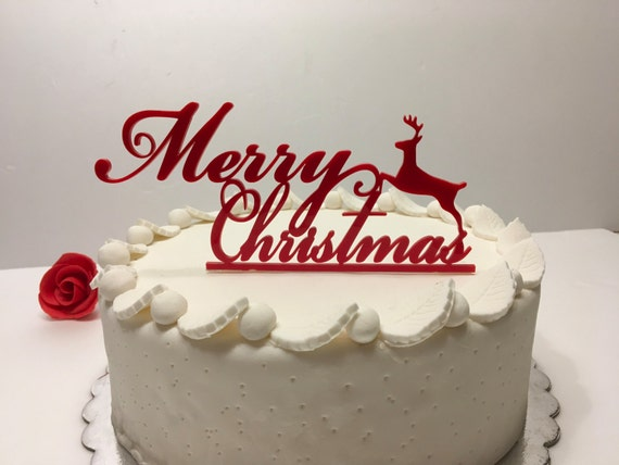 Red Christmas cake topper with deer Merry Christmas sign Holiday cake topper Personalized cake topper Christmas decoration Xmas cake decor