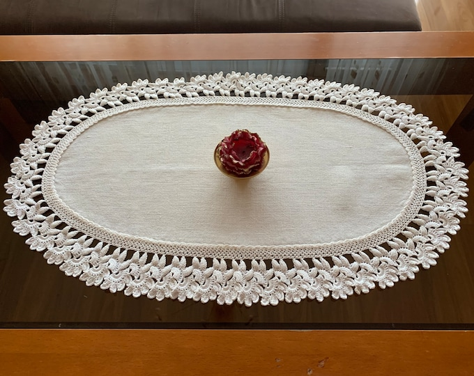 Linen Tablecloth with Lace Natural Doily Crochet Oval Handmade Small Table Topper Cotton White Centerpiece Vintage Mothers day Grandma Gift