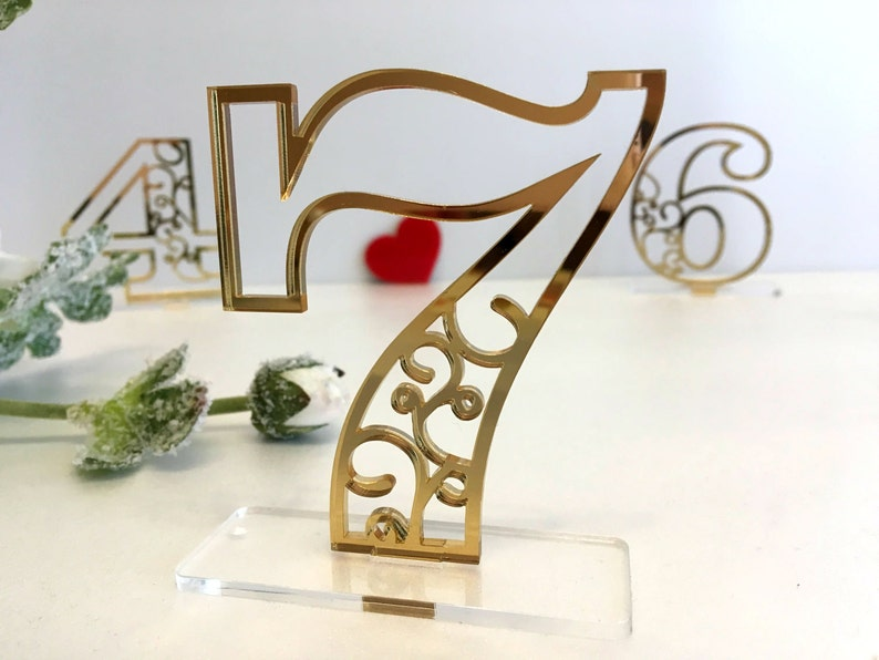 Wedding Table Numbers Elegant Laser Cut Table Centerpiece image 0