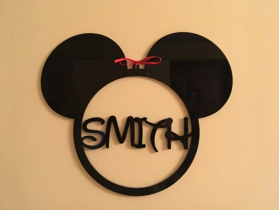 Mickey Mouse Monogram Personalized Any Name Sign Minnie Mouse Ears Hanging Wall Decoration Custom Ornament Disney Shape Nursery Kids Bedroom