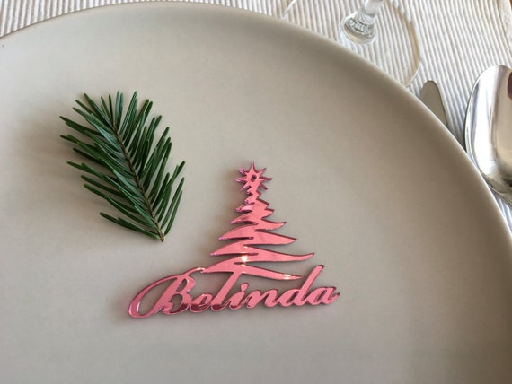 Christmas place cards Laser cut Christmas trees Wedding names place setting trees Acrylic table names Personalized Christmas Seating Names
