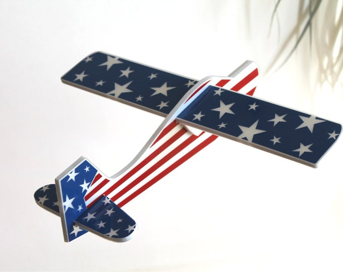 Airplane toy American Flag 4th of July Gift USA Stars Gift for a boy American Patriotic independence day gift Aeroplane Outdoor Game Air Jet