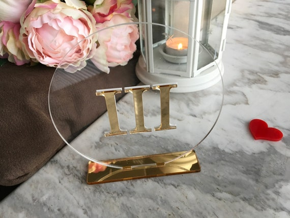 Wedding Table Numbers Acrylic Roman Numeral Circle Signs Gold Mirror Clear Party Decor Modern Centerpieces Luxury Decorations Number Holders