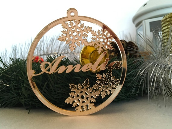 Personalised Christmas Name Bauble Tree decorations Gold Mirror Personalized Tag Laser cut ornament Xmas name ornament Custom Christmas gift
