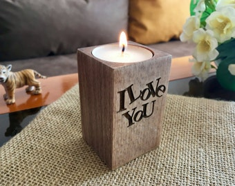 Wooden candle holder I love You Valentines day gift for her Personalized engraved tealight holders Home decor Table centerpiece Wedding gift