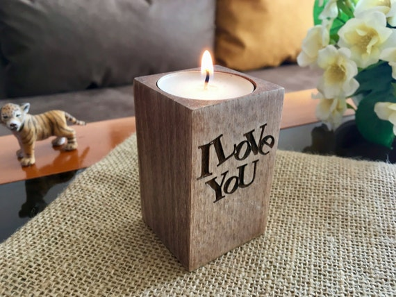 Wooden candle holder I love You Christmas gift for her Xmas Personalized engraved tealight holders Home decor Table centerpiece Wedding gift