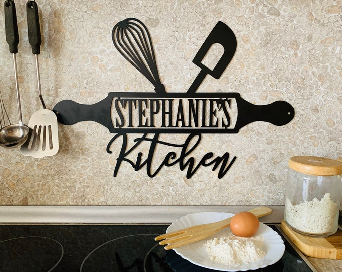 Personalized Metal Sign for Kitchen Custom Kitchen Name Sign Wall Art Decor Housewarming Cooking lover Gift Mom's Kitchen Gift for Grandma