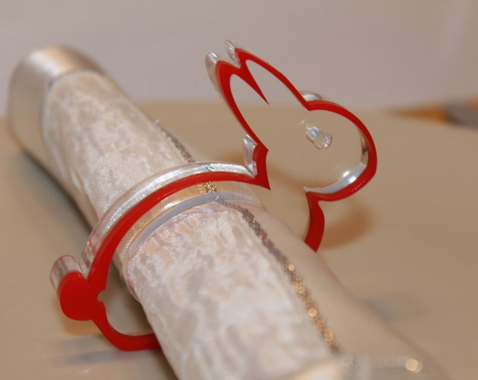 Napkin Ring Holders Red Bunny Easter Napkin Rings Easter Gift Ideas Red Rabbit Baby Shower Decoration Traditional Easter Dinner Party Decor