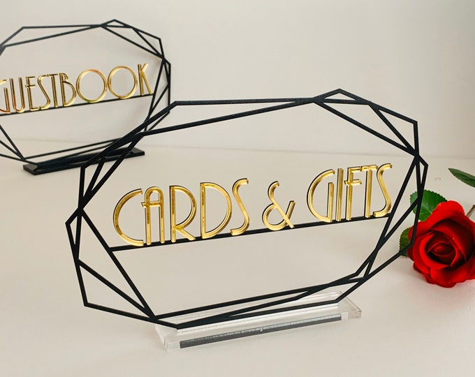 Guestbook, Gifts & Cards Table Signs, Personalized Custom Metal Wedding Signs Set Unique Freestanding Reception Parties Events Decorations
