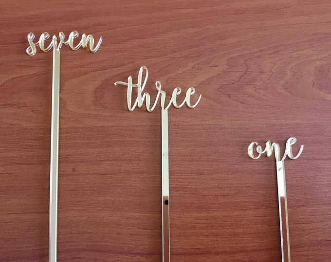 Flower arrangement Wedding table numbers on stick Number holders Script table numbers Gold mirror numbers Silver table numbers Wooden signs