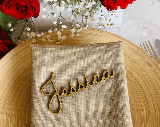 Gold Glitter Custom Wedding Laser Cut Names Personalized Wooden Table Cards Place Name Settings Guest Party Escort Cards Customise Wood Tags