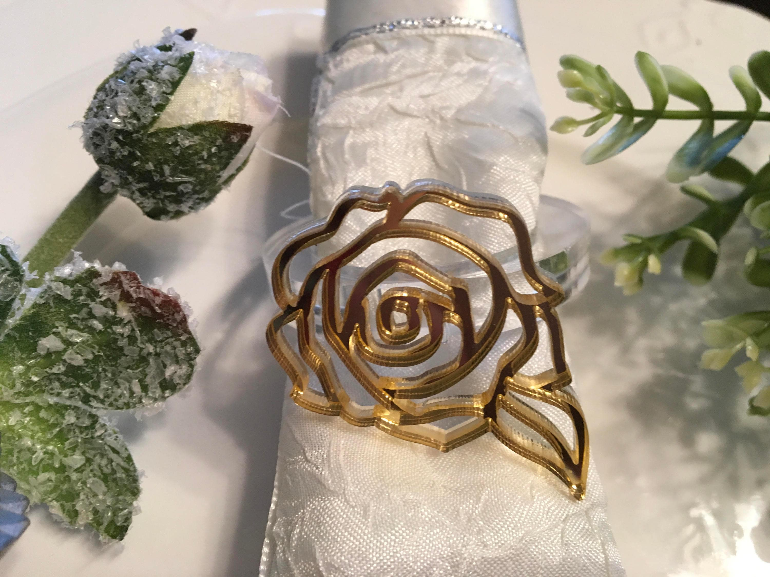 Flower Napkin Ring Holders Filigree Gold Rose Acrylic Floral Wedding