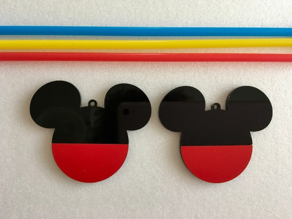 Mickey Mouse Ears Black and Red Ornaments Mickey Ribbon Hanging Acrylic Baubles Minnie Disney Decorations Tree Decor Birthday Gift for Kids