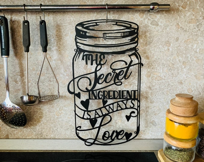 The Secret Ingredient is Love Sign Personalized Jar Custom Funny Kitchen Sign Cooking Lover Metal Wall Art Plaque Mom's Kitchen Dining Room