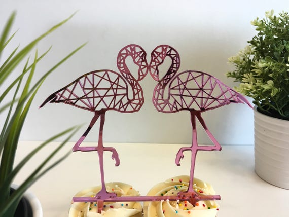 Flamingo Cake Topper Hawaiian party Tropical wedding decorations Bridal shower Pink Wedding Bachelorette Flamingo Party Girl birthday gift
