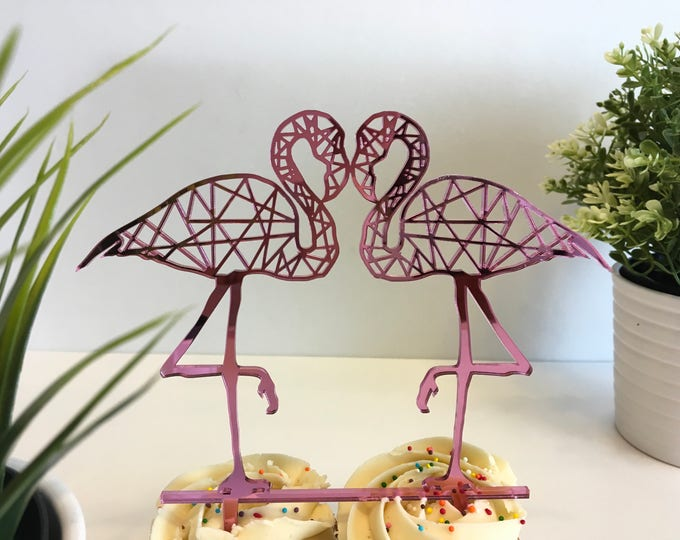 2 Flamingos Cake Topper Hawaiian Party Tropical Wedding Decoration Bridal Shower Pink Wedding Bachelorette Flamingo Party Girls Birthday
