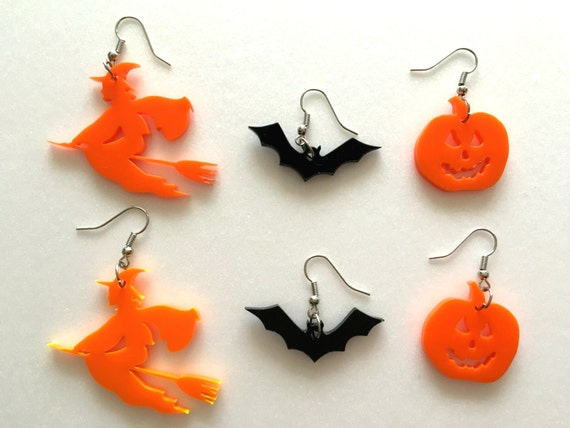Halloween Earrings, Pumpkin Earrings, Bat earrings, Witch Earrings, Orange Black Earrings, Bat Jewelry, Happy Halloween, Halloween ornaments