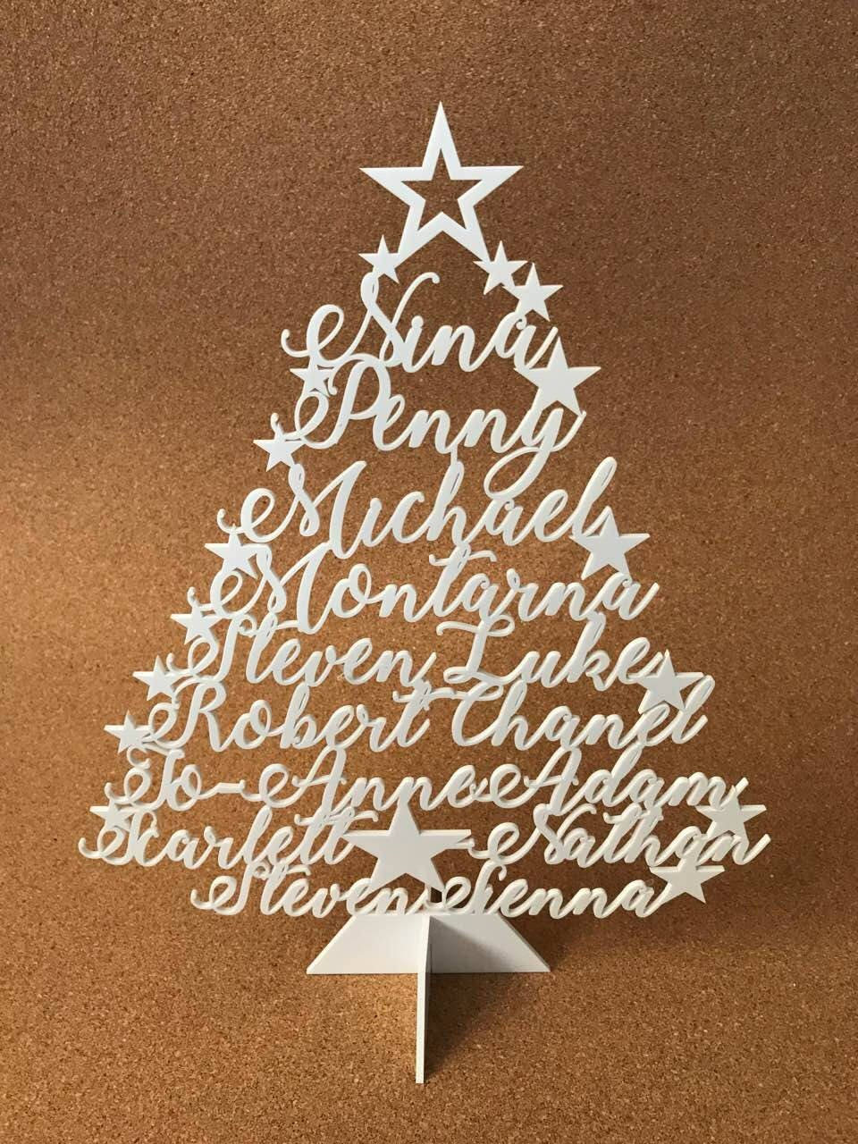 Personalized Christmas Tree Family Name Ornament Laser Cut ...