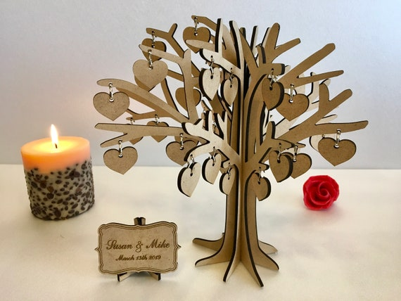 Personalized Wood Family 3D Tree Wedding Guestbook Alternative Rustic Laser Cut Heart Wishing Tree Tag Jewellery Stand Special Birthday Gift