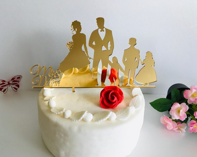 Wedding Cake Topper with 3 Children Mr and Mrs Cake Toppers Family Silhouette Personalized Bride Groom Kids Special Custom Orders Any Colors