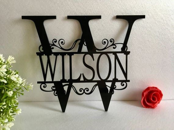 Split Letter Wall Monogram Home Front Door Monogrammed Wreath Hanger Personalized Acrylic Family Last Name Outdoor Sign Initial Wedding Gift