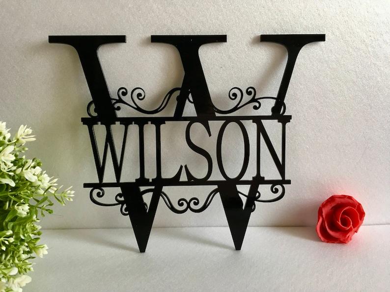Split Letter Wall Monogram Sign Front Door Wreath Hanger Black Acrylic Sign