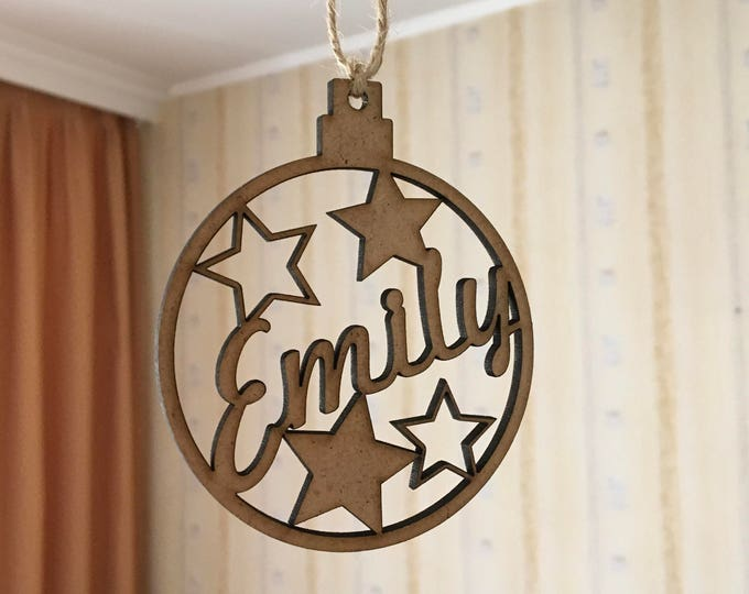 Personalized Christmas Wood Name Ornaments Holiday Gift Tags Custom Name Bauble Xmas Decor Handmade Tree Decorations Acrylic Laser Cut Name