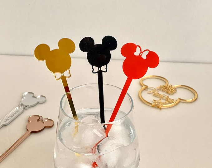 Mickey Mouse Acrylic Drink Stirrer Minnie Mouse Disney Party Decorations Swizzle Stir Stick Birthday Gift Table Decor Kids Party Accessories