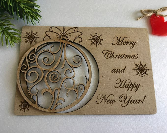 Christmas greeting cards Personalized wooden gifts Engraved Christmas cards Holiday ornament Christmas tree decorations Merry Christmas card