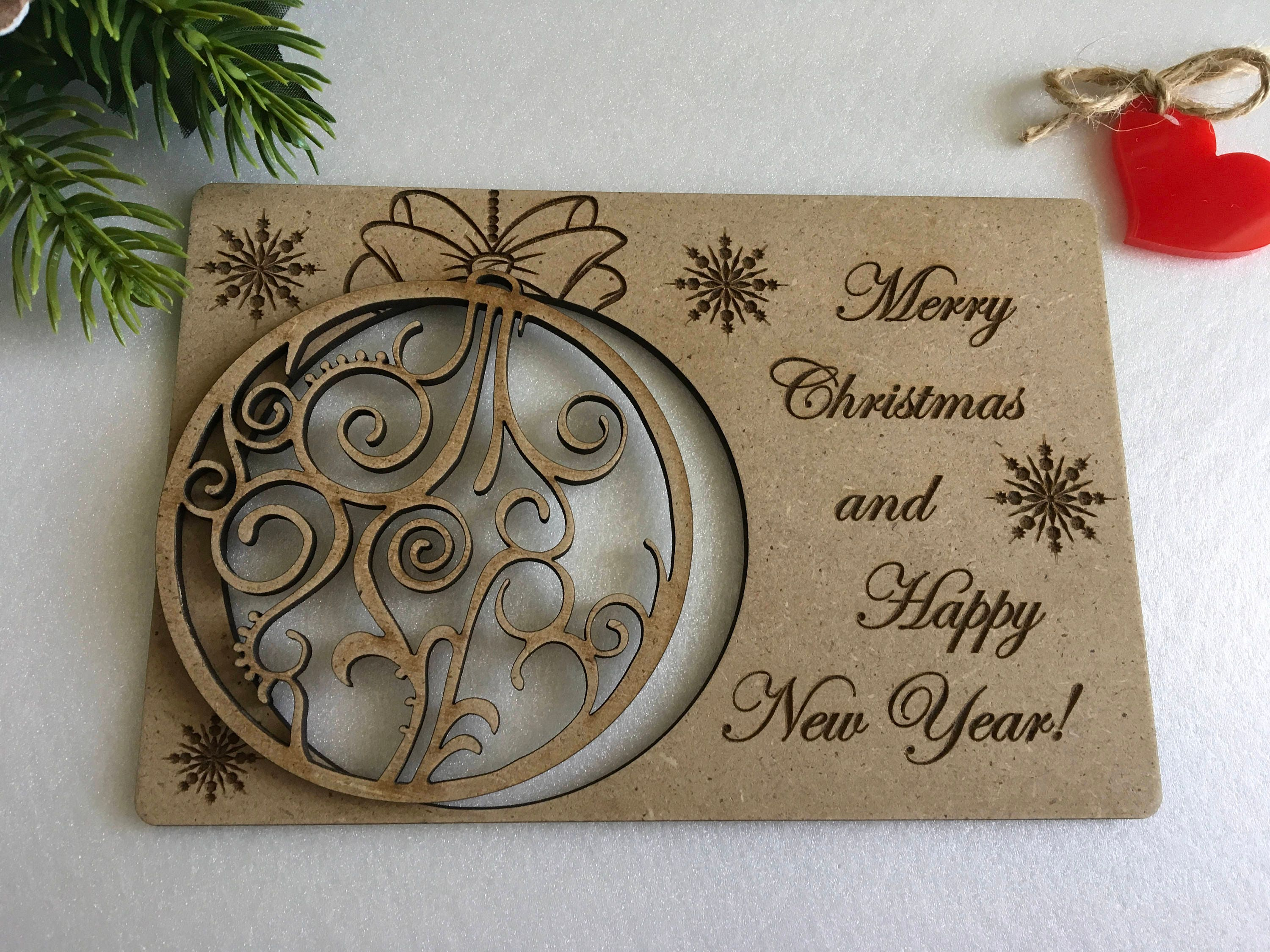 Christmas greeting cards Personalised wooden gifts Engraved ...
