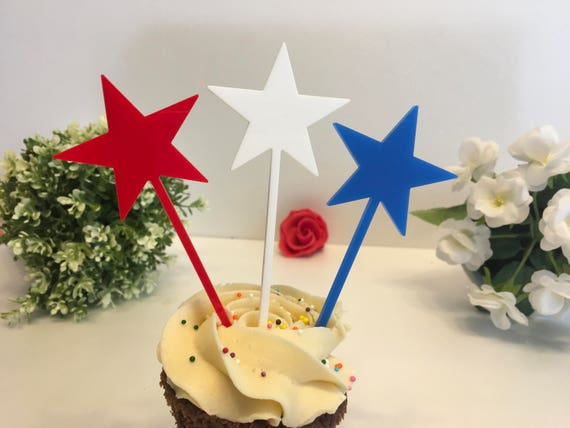 Patriotic Cake Toppers American flags US flag 4th of July Red White Blue stars Party Picks Fourth of July Independence Day Swizzle Sticks