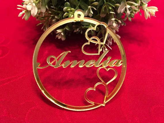 Personalised Name Bauble Custom Ornaments Tree Decorations Valentines Heart Gift for Him Laser Cut Name Ornament Personalized Gift for Her