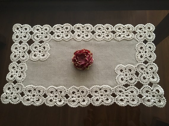 Natural Linen Small Doily Crochet Beige Handmade Vintage Lace Table Runner Doily Tableware Centerpiece Tablecloth Gift for Mom Easter Day