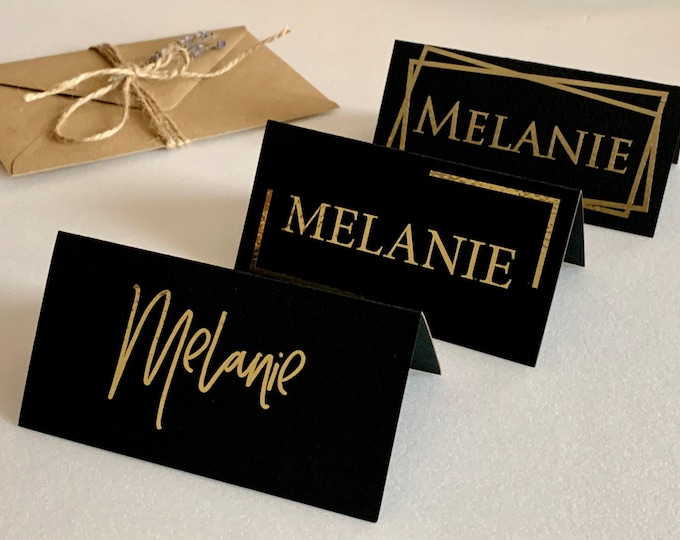 Personalized Wedding Black Place Name Cards Template Table Seating Card Tents Gold Foil Border Calligraphy Custom Guest Names Flat or Folded