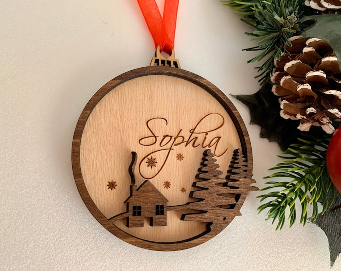 Personalized Wood Name Christmas 2021 Ornament 3D Custom Handmade Wooden Bauble Laser Cut Hanging Tree Decorations Housewarming Holiday Gift